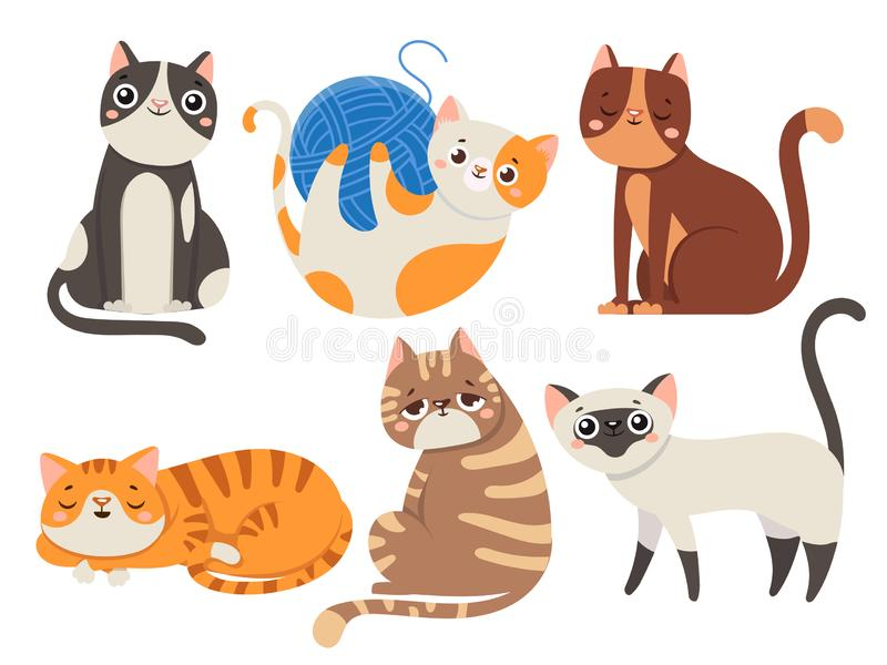 Cute cats. Fluffy cat, sitting kitten character or domestic animals isolated vector illustration collection royalty free illustration