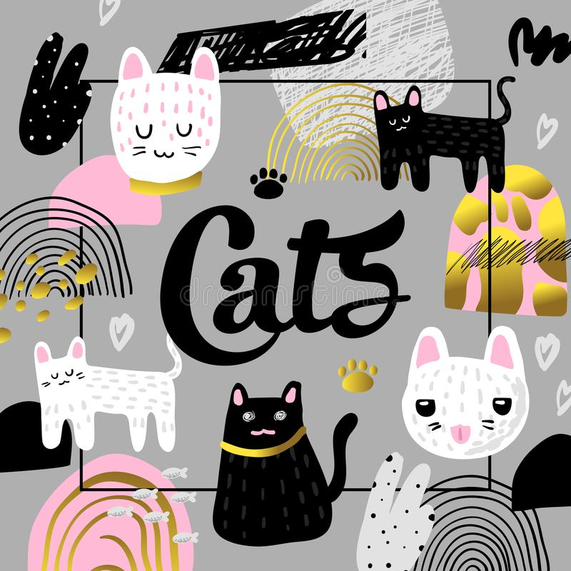 Cute Cats Hand Drawn Design. Childish Background with Kitten and Abstract Elements. Baby Freehand Composition vector illustration