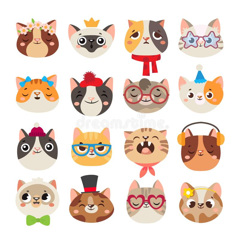 Cute cats heads. Cat muzzle, domestic kitty face wearing hat, scarf and color party glasses isolated cartoon vector set royalty free illustration