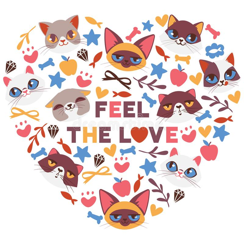 Cute cats in heart shape vector illustration. Cartoon animal faces. Funny pets for banner, flyer, invitation, brochure vector illustration