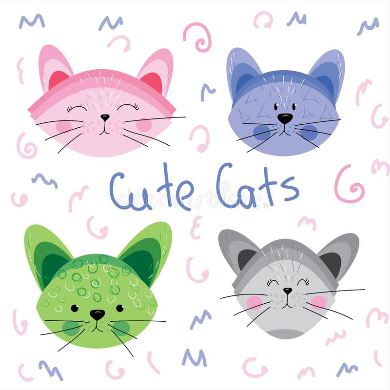 Cute Cats Illustration for card making, paper, textile, printing, packaging. Cute Cats Background illustration perfect for cards, diy, fabric, wrapping paper vector illustration