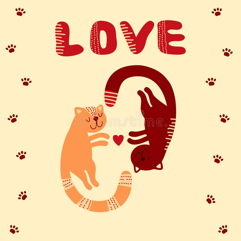 Cute cats inlove with word love. Valentine`s day card. EPS 10 vector illustration stock illustration