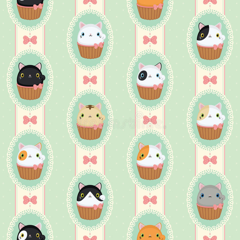 Cute cats in laced frames. Vector retro pattern polka dots and stripes. vector illustration