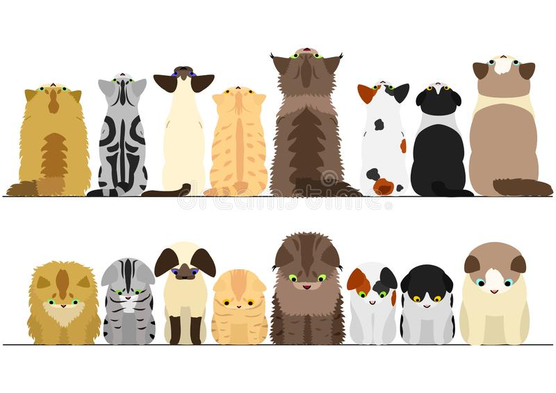 Cute cats looking up and down border set stock illustration