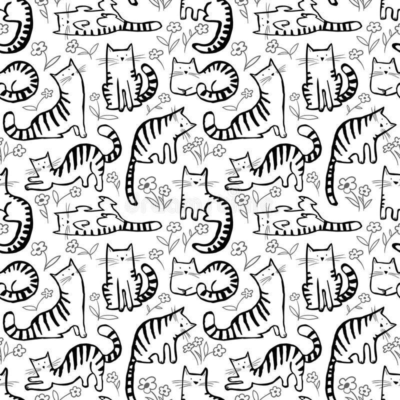 Cute cats seamless pattern. Background with hand drawn doodle ki vector illustration