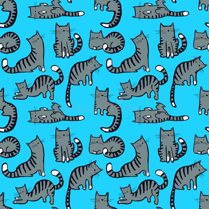 Cute cats seamless pattern. Background with hand drawn doodle ki stock illustration