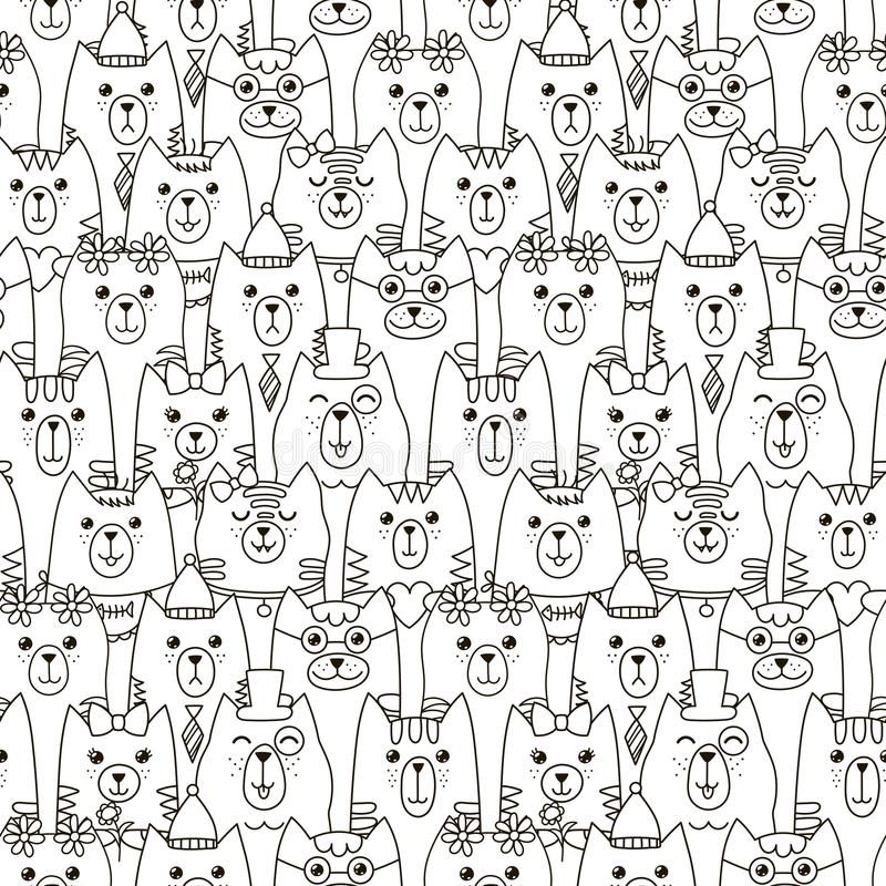 Cute cats seamless pattern. Black and white background royalty free illustration