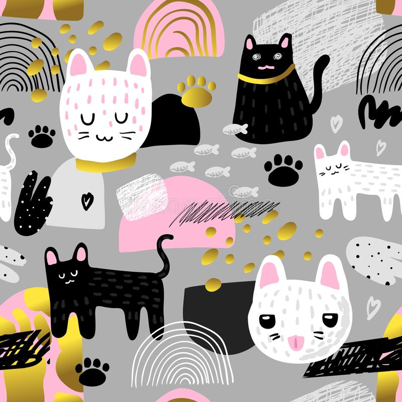 Cute Cats Seamless Pattern. Childish Background with Kitten and Abstract Elements. Baby Design for Fabric, Textile vector illustration