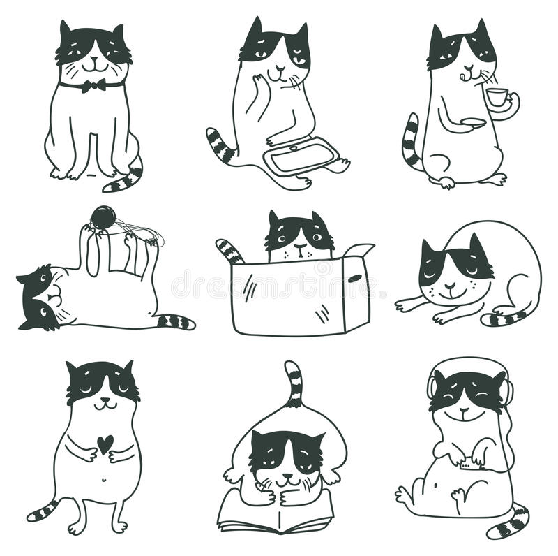 Cute cats set royalty free illustration