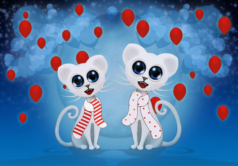 Cute cats under full moon and red balloons vector illustration