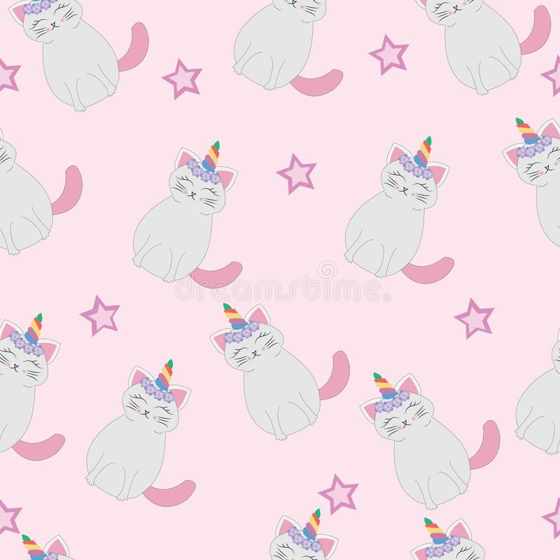 Cute cats unicorn seamless pattern stock illustration
