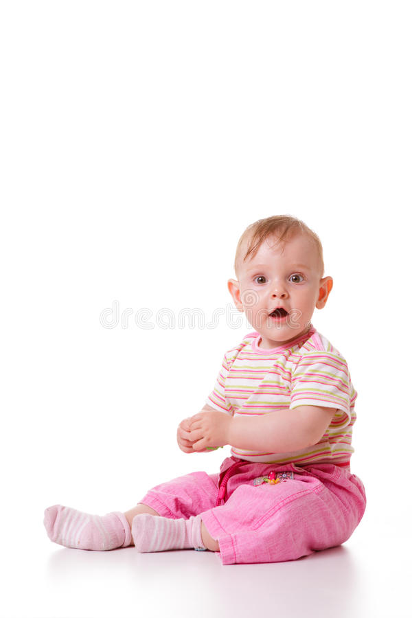 Cute caucasian baby stock photo