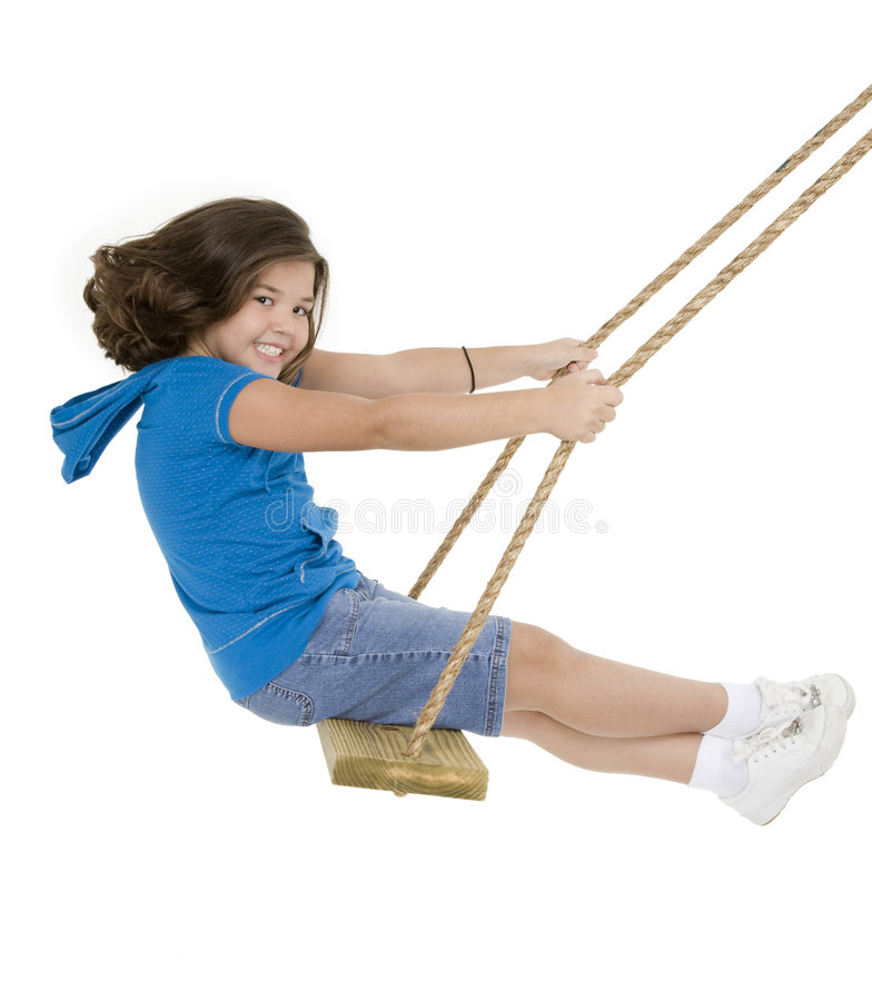 Free Cute Caucasian Child Playing On A Wooden Swing Royalty Free Stock Photos - 6423468