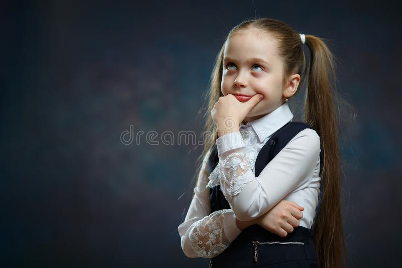 Cute Caucasian Elementary Schoolgirl Body Portrait royalty free stock photo