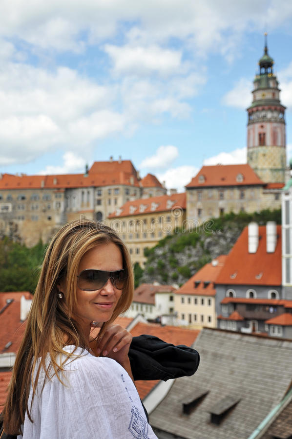 Cute Caucasian Model in Cesky Krumlov royalty free stock image