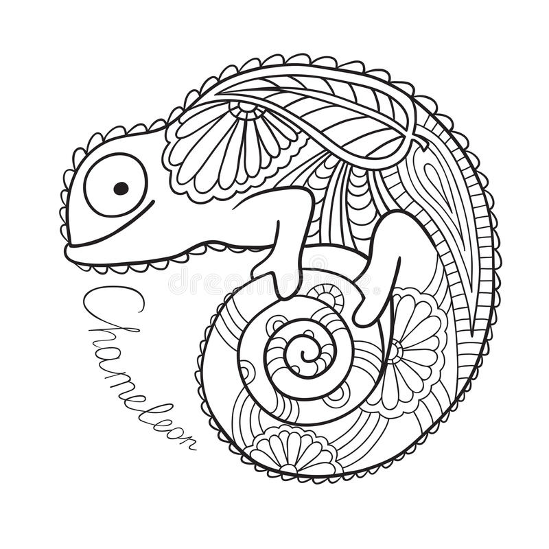 Cute chameleon in ethnic style. royalty free stock photography