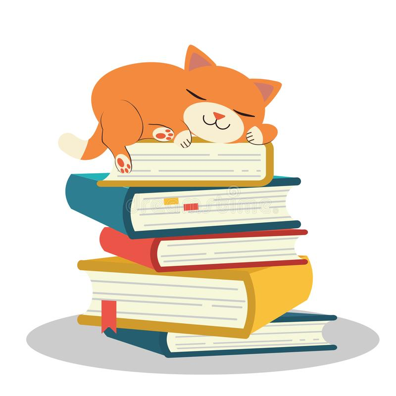 The Cute character of cat sleeping on pile of book. cat sleeping. pile of book . lazy cat is sleeping. sleeing on a book.study by stock illustration
