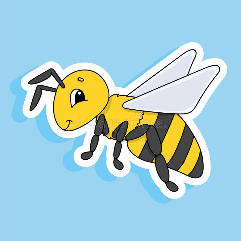 Striped bee. Cute character. Colorful vector illustration. Cartoon style. Isolated on color background. Design element. Template. Cute character. Colorful vector royalty free illustration