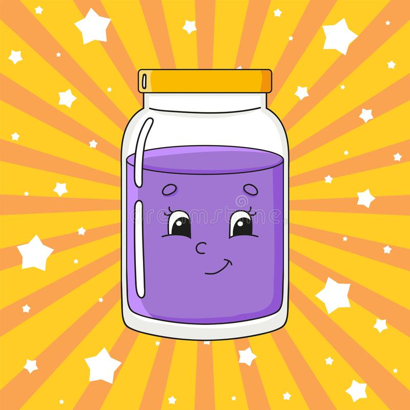 Glass jar of jam. Cute character. Colorful vector illustration. Cartoon style. Isolated on color background. Design element. Cute character. Colorful vector stock illustration
