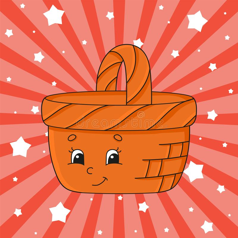 Brown basket. Cute character. Colorful vector illustration. Cartoon style. Isolated on color background. Design element. Template. Cute character. Colorful vector illustration