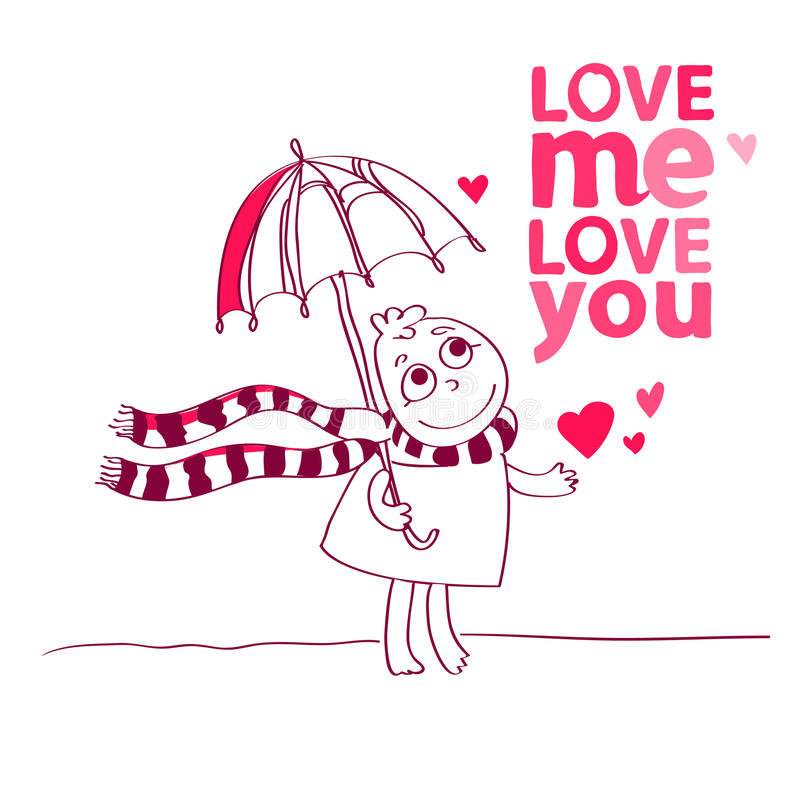 Vector Illustration Of A Cute Character Is Saying Love Me Love You And Love  Me. Cute Romantic Card With Funny Text, Hearts. Valentines Card With  Cartoon ...