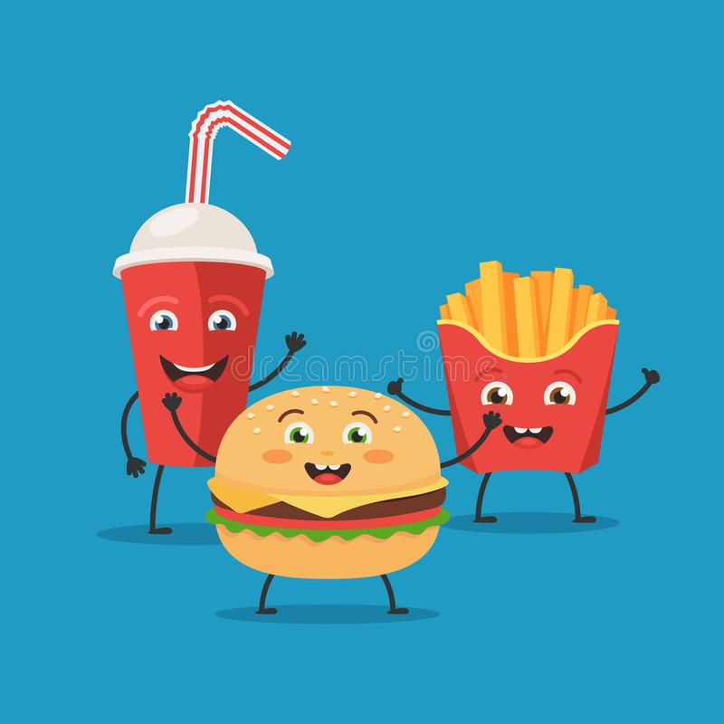 Cute characters fast food royalty free illustration