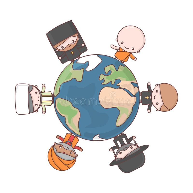 Cute characters. Judaism Rabbi. Buddhism Monk. Hinduism Brahman. Catholicism Priest. Christianity Holy father. Islam Muslim. Friendship and peace for different vector illustration