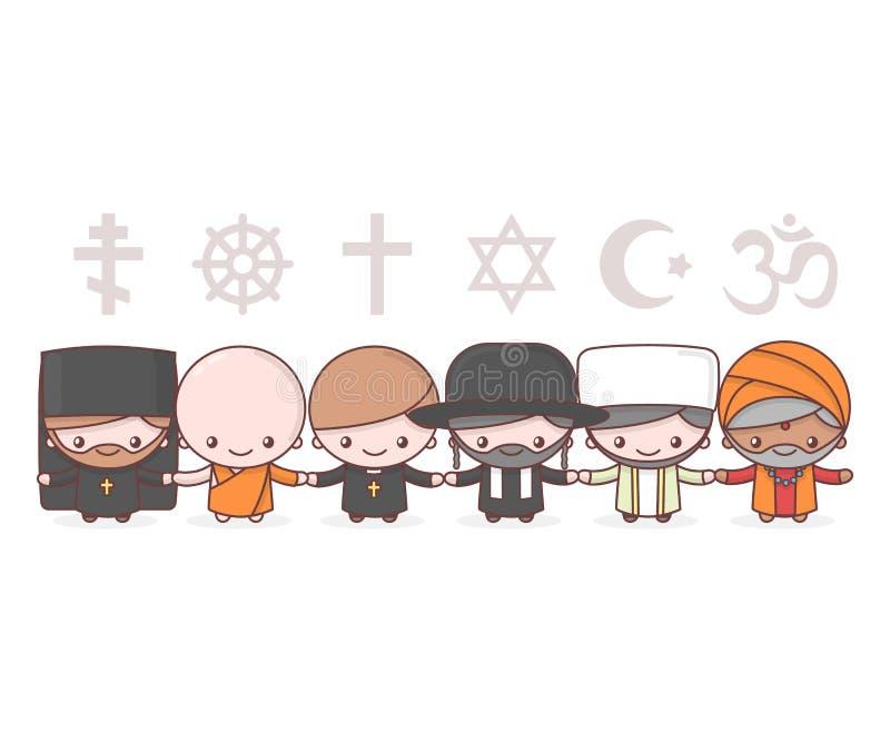 Cute characters. Judaism Rabbi. Buddhism Monk. Hinduism Brahman. Catholicism Priest. Christianity Holy father. Islam Muslim. Religion vector symbols vector illustration