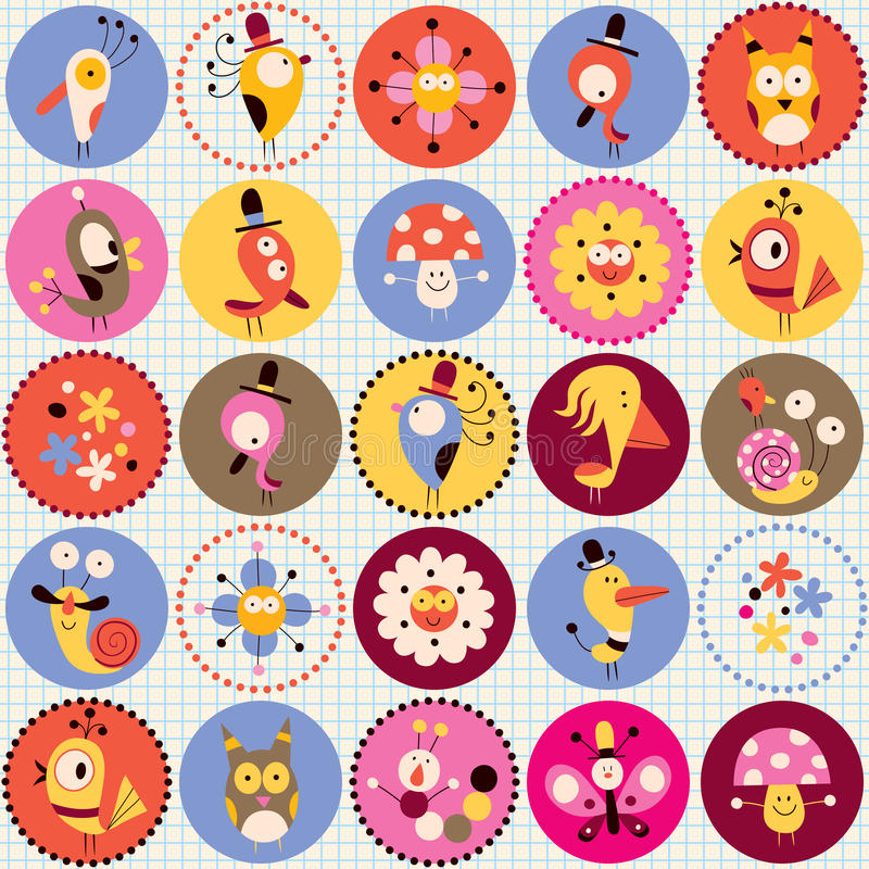 Cute characters pattern stock illustration
