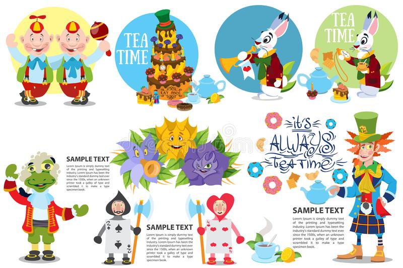Cute characters set from alice in wonderland story vector illustration. Included in this set: Alice, Blue Caterpillar, Queen of. Cute characters set from alice royalty free stock image