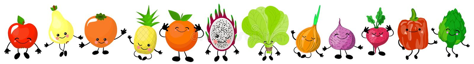 Cute characters vegetables and fruits with liu, eyes and hands. Healthy food stock illustration