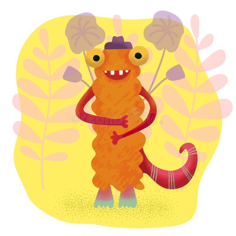 Cute charming adorable baby monster on a background of flowers and leaves, children`s themes, print for textiles, for factory stock illustration