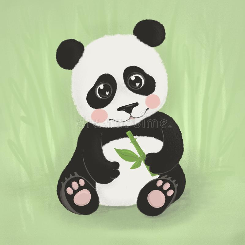 A cute and charming bear panda sits and holds a bamboo branch in its paws royalty free stock images