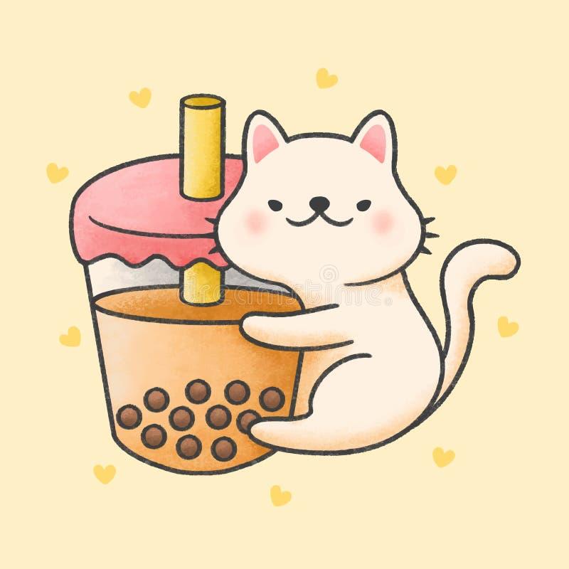 Cute chat accolé bulle lait thé boisson fraîche dessin animé à la main illustration libre de droits