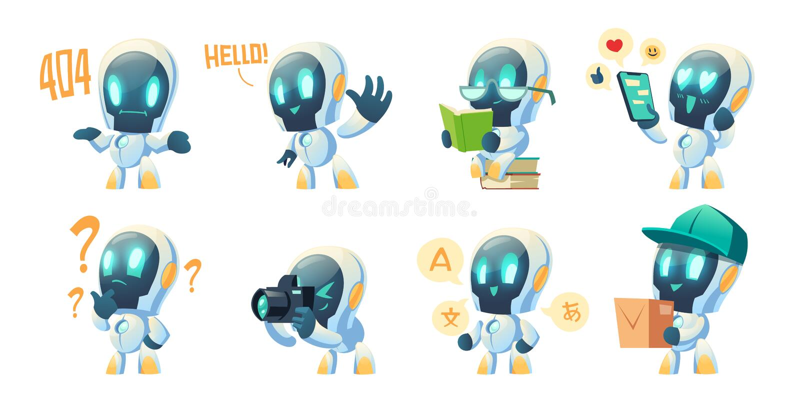 Cute chat bot cartoon, conversation robot. Cute chat bot cartoon vector set illustration. White funny smart conversation robot, assistant make hand gesture royalty free illustration
