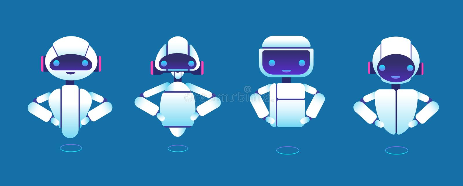 Cute chatbots. Robot assistant, chatter bot, helper chatbot vector cartoon characters royalty free illustration