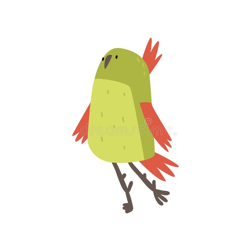 Cute Cheerful Bird, Funny Birdie Cartoon Character with Bright Green Feathers Vector Illustration royalty free illustration