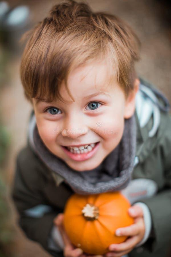 Portrait of a boy with a pumpkin stock photo