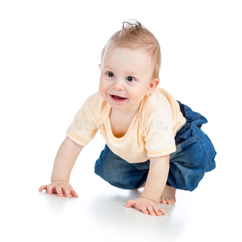 Cute cheerful crawling baby boy on white royalty free stock photo
