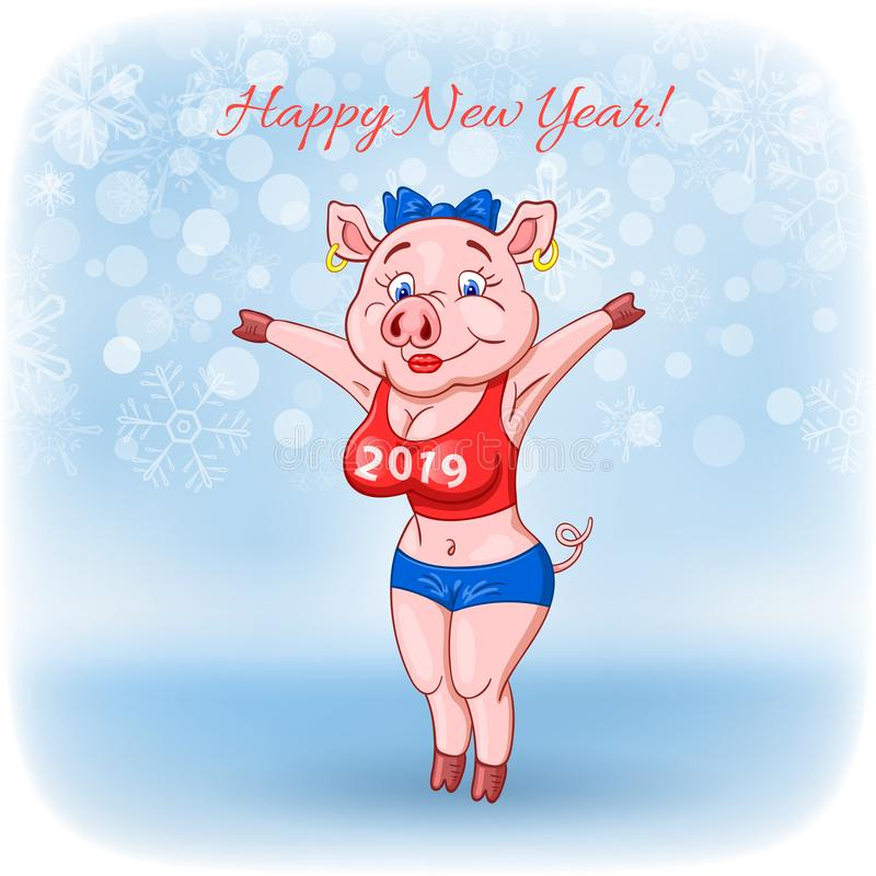 Cute cheerful female pig with 2019 inscription on her breast wishes a happy New Year royalty free illustration