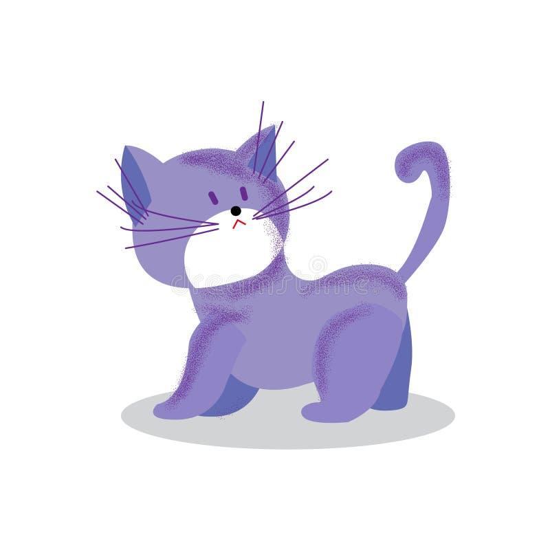 Cute cheerful Kitten playing, cartoon vector illustration. royalty free illustration