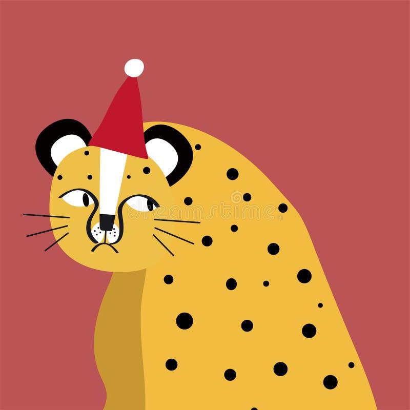 Cute cheetah wearing a Christmas hat vector royalty free illustration