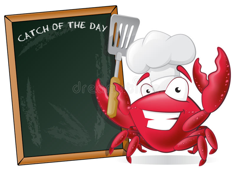 Cute Chef Crab with Spatula and Menu Board. Great illustration of a Cute Cartoon Crab Chef holding a Frying Spatula next to Menu Board stock illustration