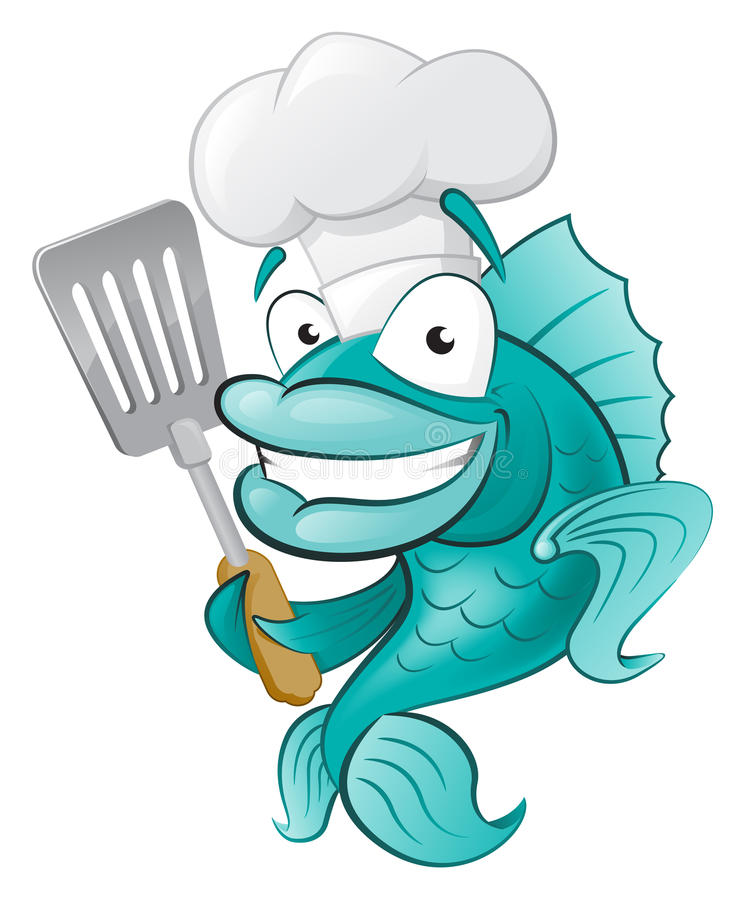 Cute Chef Fish with Spatula. Great illustration of a Cute Cartoon Cod Fish Chef holding a Frying Spatula stock illustration
