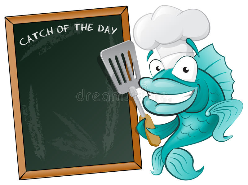 Cute Chef Fish with Spatula and Menu Board. Great illustration of a Cute Cartoon Cod Fish Chef holding a Frying Spatula next to Menu Board vector illustration