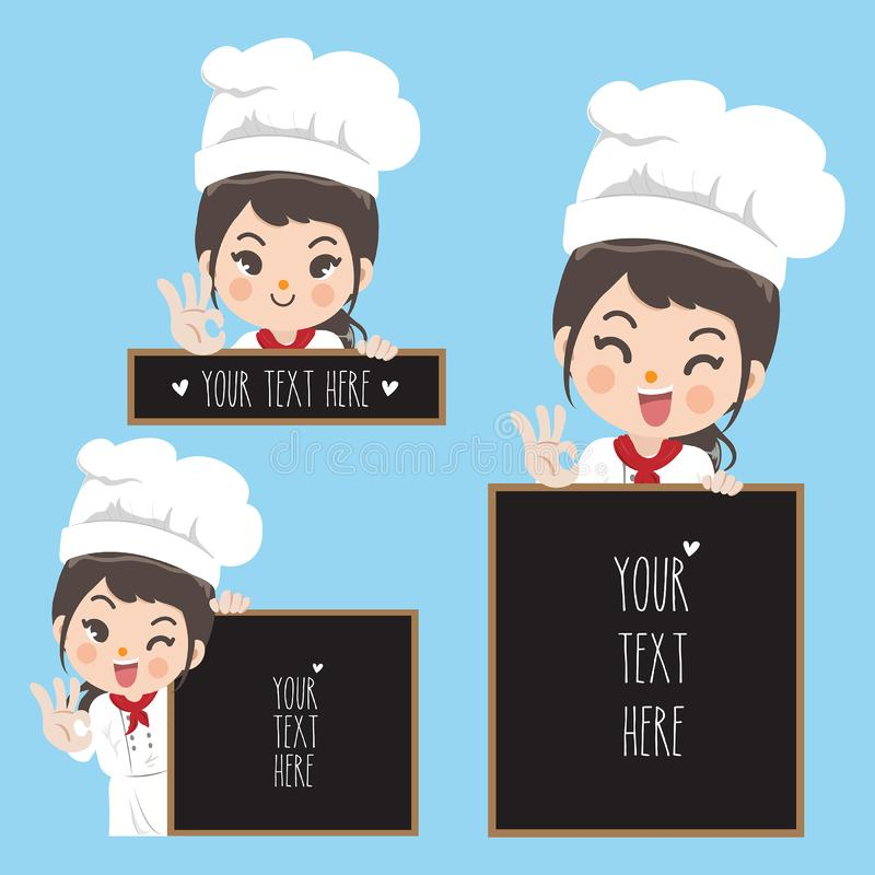Chef woman smile and blackboard. Cute chef girl and space blackboard for take a text to the customer or message for menu food stock illustration