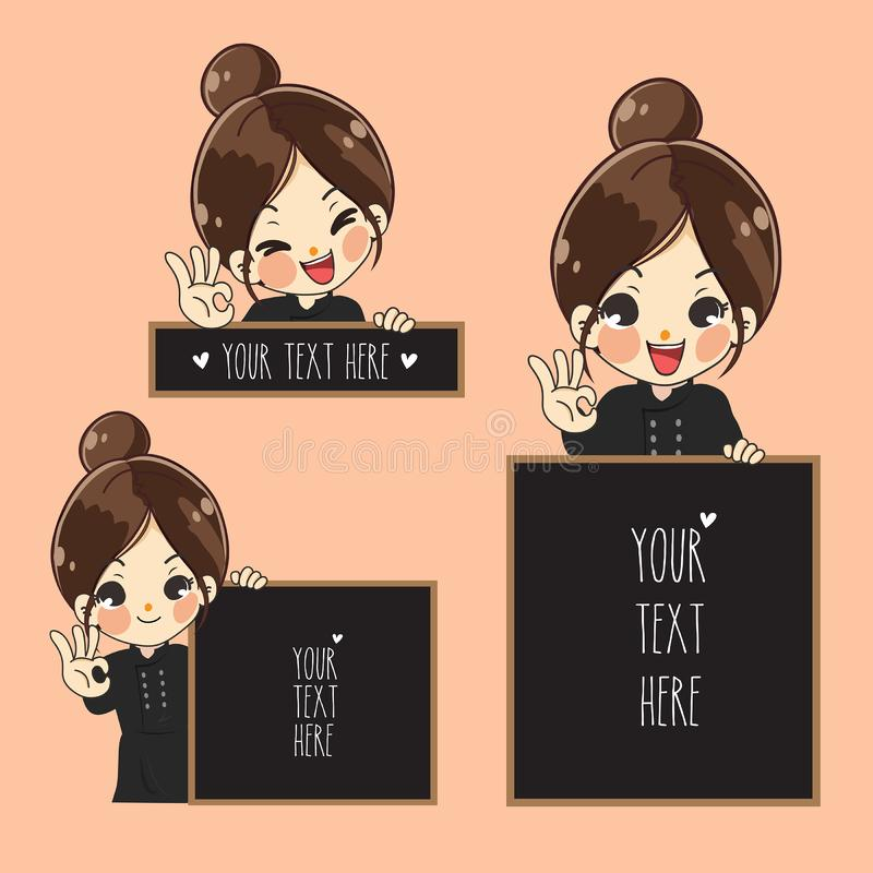 Cute chef girl and space signage. vector illustration