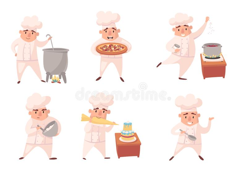Cute chef men, Restaurant staff in uniform. Cook vector cartoon character set isolated on white background. royalty free illustration