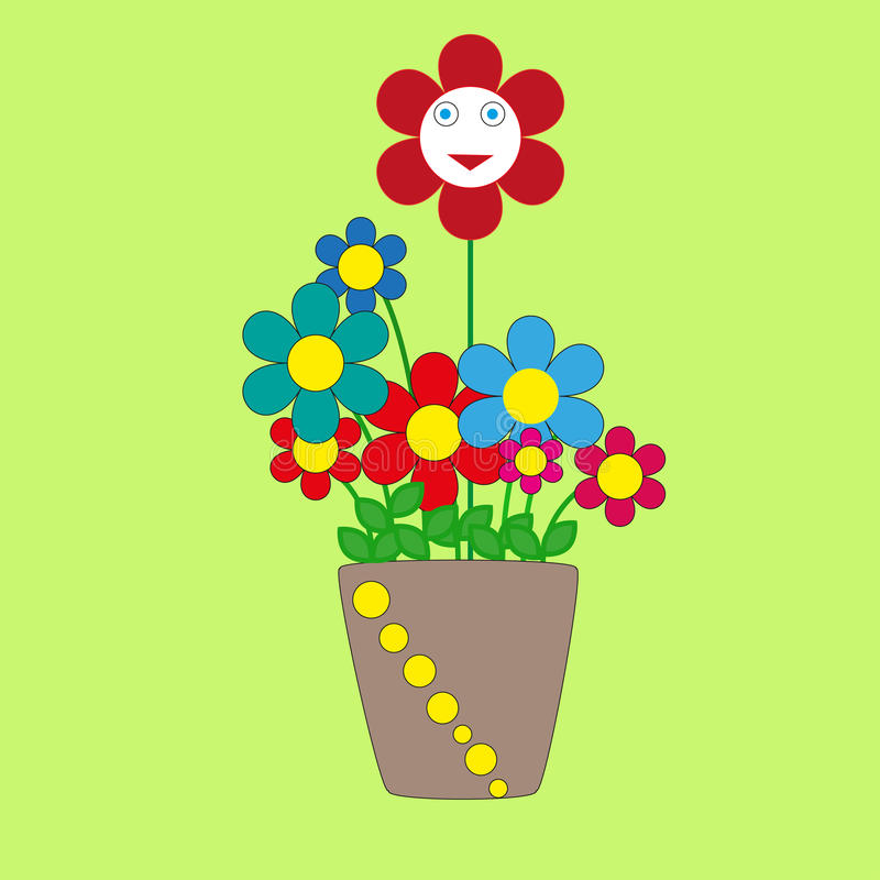 Cute cherful flowers in a pot stock photos