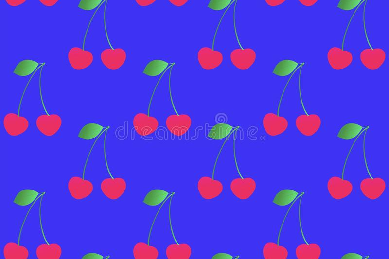 Cute cherry seamless pattern on a blue background. Gradient fill. royalty free illustration